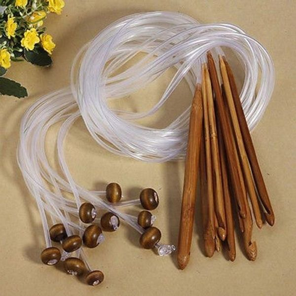 8 pcs set Crochet Hooks Yarn Knitting Tool Set Bamboo Needles 3.0-10.0mm