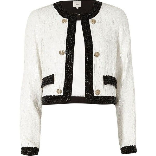 River Island White all over sequin trophy jacket ($170) ❤ liked on Polyvore featuring outerwear, jackets, coats / jackets, white, women, double breasted jacket, tall jackets, river island jackets, pocket jacket and flap jacket