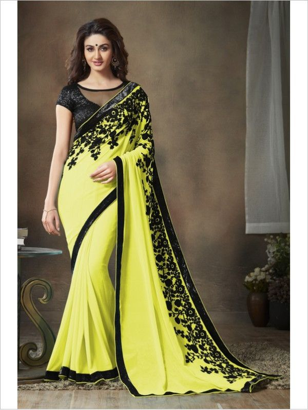 Yellow Party Wear Georgette Saree