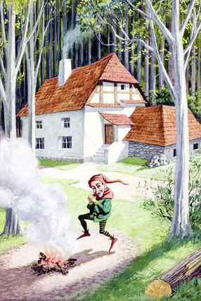 15.- But he observed on the top of a mountain at the end of the forest, a little house with a little man jumping around a fire that shouted that nobody would ever know that his name is Rumpelstiltskin