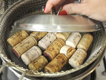 Tip for working with wine corks ~ With the corks moist can cut in desired shapes without damaging the cork.