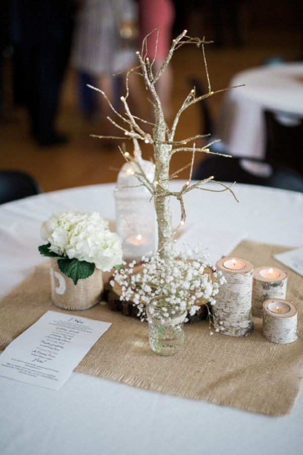 Rustic Burlap Wedding Centerpiece ideas / http://www.deerpearlflowers.com/rustic-wedding-ideas-with-burlap-touches/2/