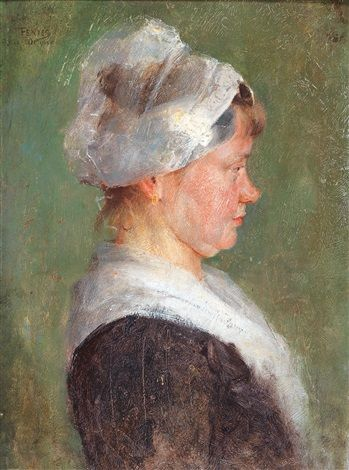 Fényes, Adolf (1867-1945) - Profile Portrait of a Girl