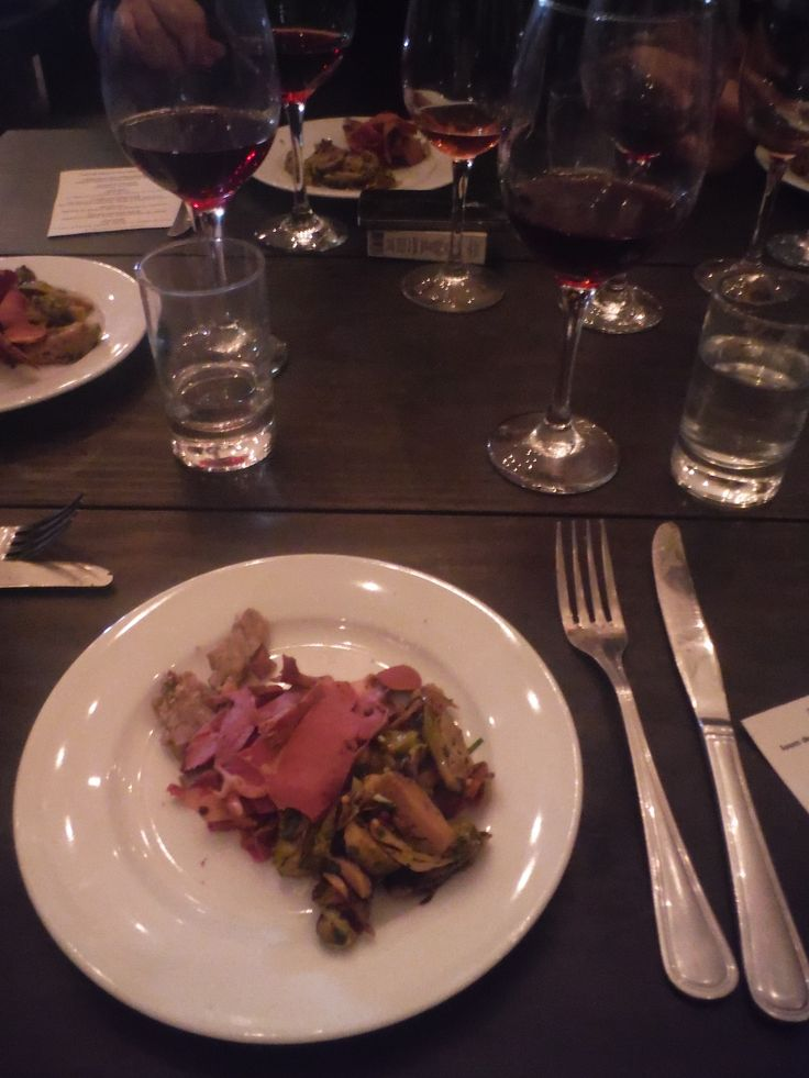 Third Course--Pastrami made from pig's heart with pickled Brussels sprouts. Served with Espino Pinot Noir.