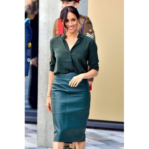 Meghan Markle Green Leather Pencil Skirt Replica In 2019