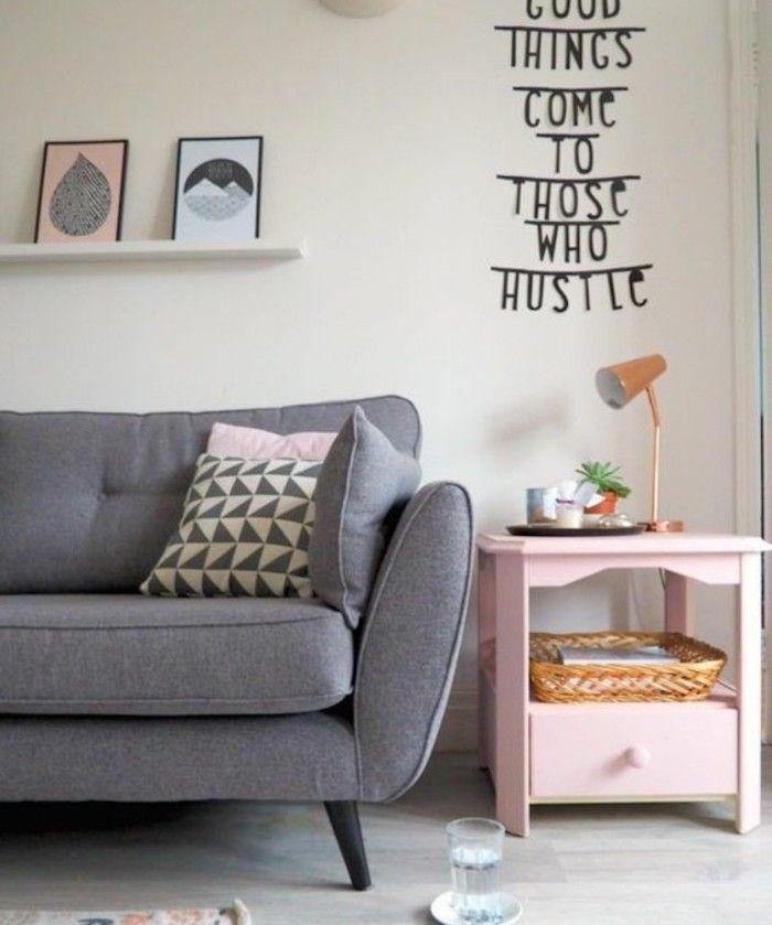 Grey Sofa Printed Throw Pillows Pink Side Table Grey Living Room Walls Hanging Shelf Framed Art Scandi Living Room Living Room Grey Pink Living Room