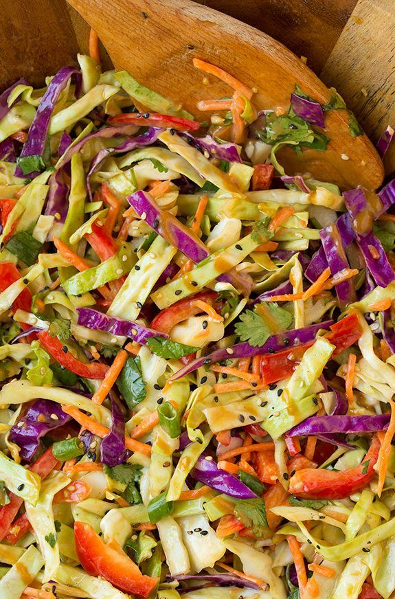 Thai Slaw with Peanut Dressing - Cooking Classy......... Replace the brown sugar with honey/maple syrup and it becomes Fix Approved.