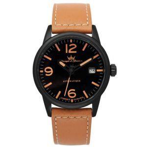 Yonger & Bresson – YBH 8351-17 – X-Trem – Montre Homme – Automatique Analogique – Cadran Noir – Bracelet Cuir Marron