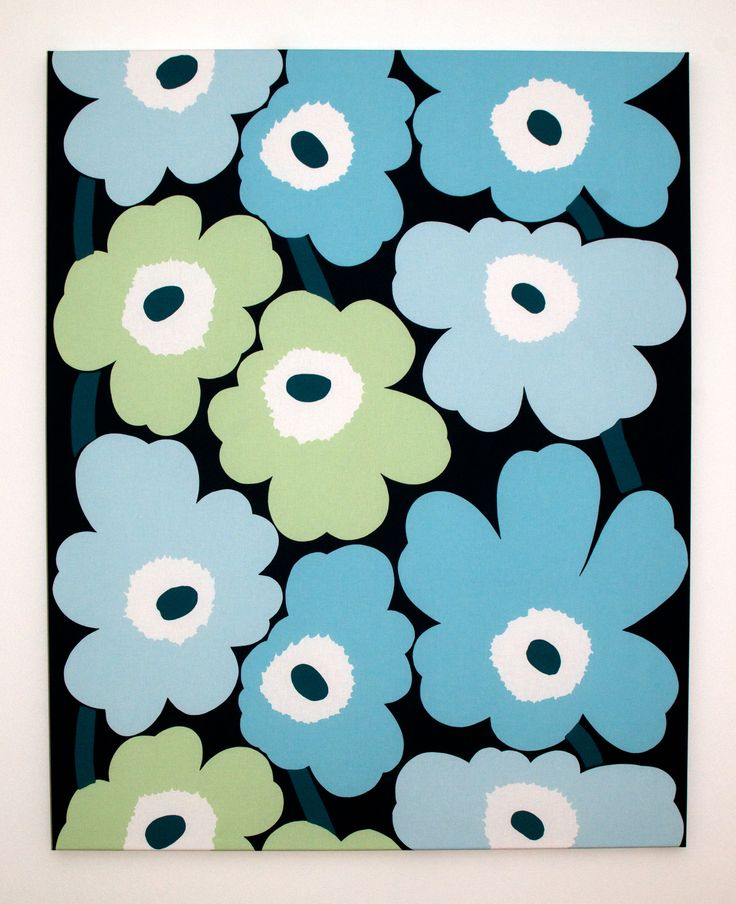 Marimekko 'Unniko' Fabric Wall Art hand stretched by Lauren Unlimited.  A beautiful, retro design featuring sky blue, mint green and white flowers on a navy background.  For custom orders contact lauren@laurenunlimited.com.au