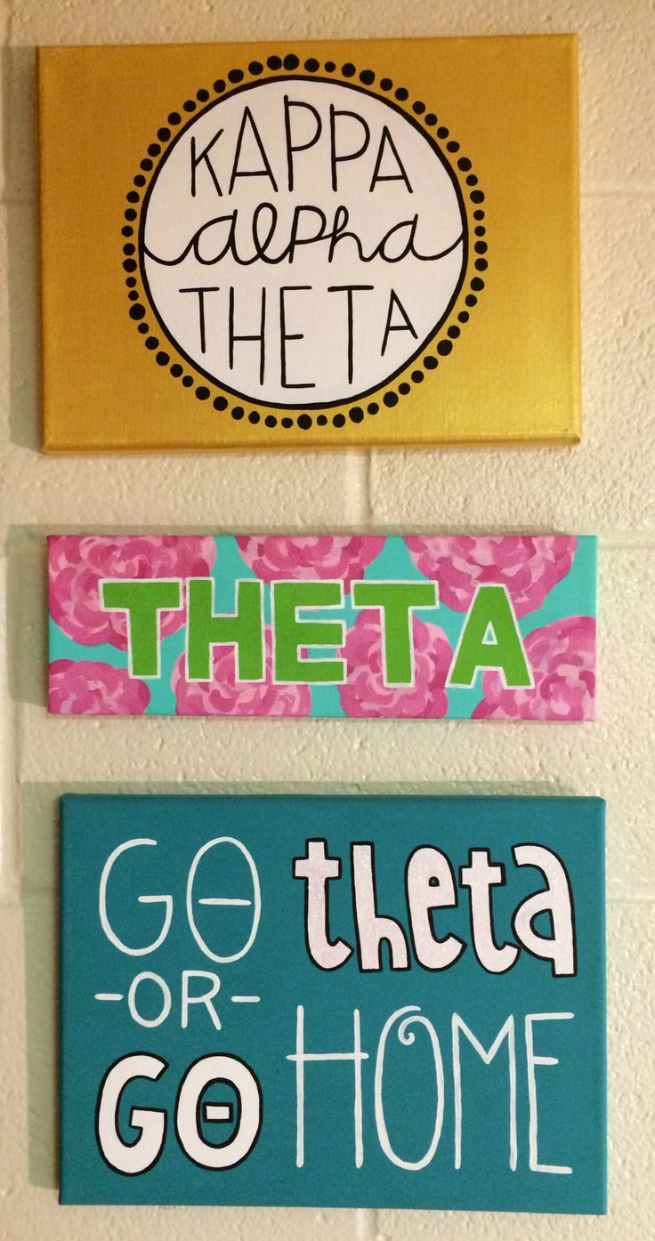 Kappa alpha theta canvases. Big little sorority crafts. ΚΑΘ.
