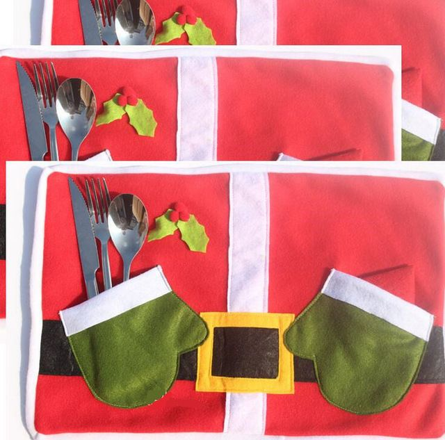 POR dhl/fedex 50 unids/lote comida de Navidad estera Manteles de Mesa de comedor estera de tabla paño de cocina de navidad guantes verdes mantel