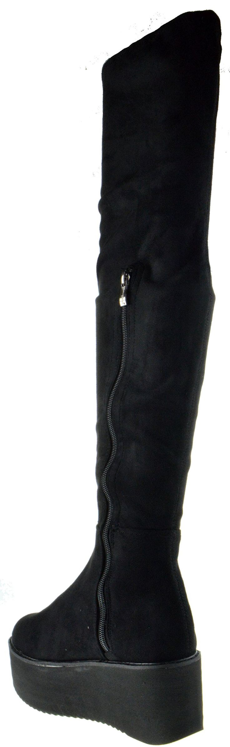 Hersey 03 TH Womens Thigh High Platform Riding Boots Black 7.5 -- Visit the image link more details. (This is an affiliate link) #ThighHighBoots