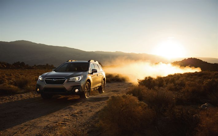 Download wallpapers 4k, Subaru Outback, offroad, 2018 cars, sunset, new Outback, Subaru
