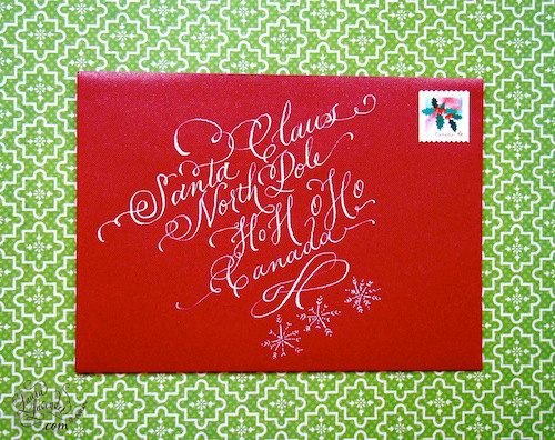 Christmas Card Addressing - Hand Calligraphy  -  White Ink  - Snowflakes -  God I love cards and calligraphy.