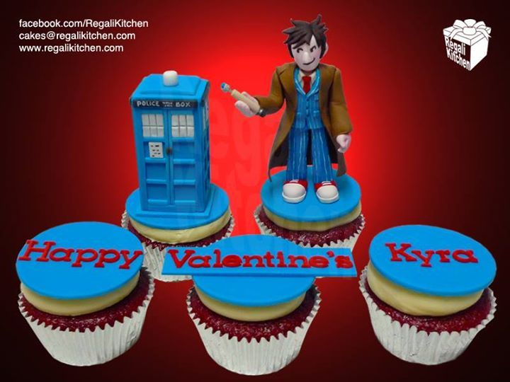 Doctor Who Valentine's Day Cupcakes | Tenth Doctor Cupcake | TARDIS Cupcake | by The Regali Kitchen