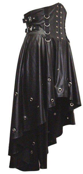 Ladies Black Gothic Steampunk Victorian Wetlook PVC Corset Dress Size 10-16