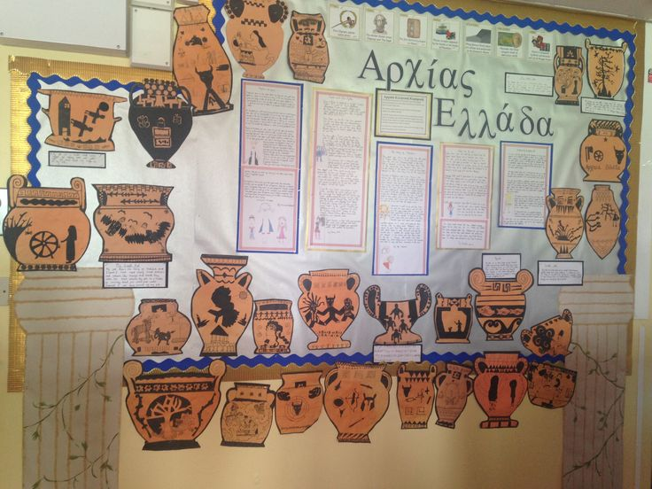 Legacy of Ancient Greece Year 4&5 KS2. These pots depict images from the children's own Greek myths and include a description of the different pot types and shapes.
