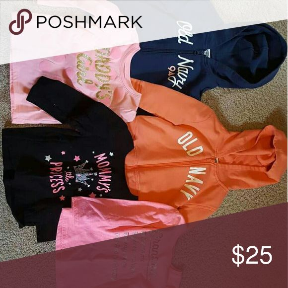 18-24 month lot - girls All tops are in perfect condition! No stains. Smoke and pet free home. 2 Old Navy hoodies, 3 Children's Place long sleeve shirts. Retail value of all items is $50 Old Navy Shirts & Tops Sweatshirts & Hoodies