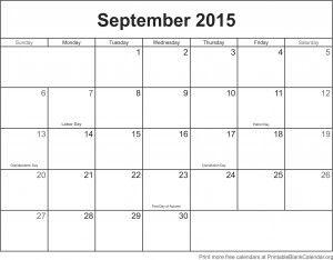 Leere Kalendervorlage, 2015