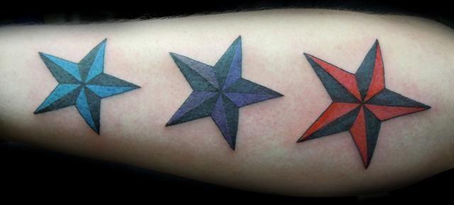 Color nautical star tattoos