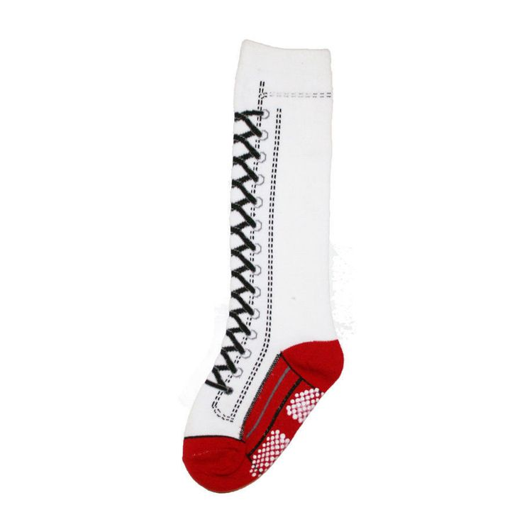 Knee High Socks Laced Up Sneaker Boot White Red Women 9-11 Soccer Cosplay Girls #Angelina #KneeHigh