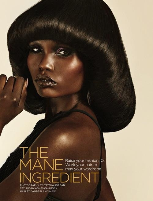 Classic Black Hair Volume Bangs Fashion Hairstyle Beauty