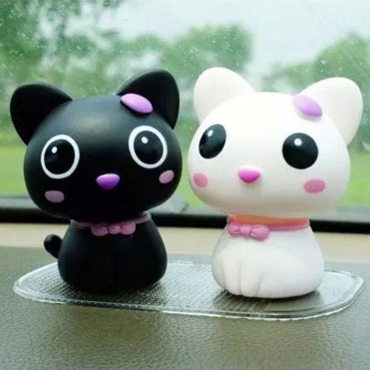 Indah Goyang Kepala seseorang Kucing Artikel Furnishing Boneka Produk Interior Mobil Auto Emblem Kartun Kreatif Ornamen