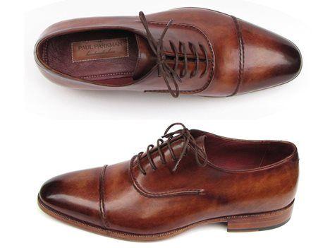 Paul Parkman Men's Captoe Oxfords Brown Hand Painted Shoes - 11 Main