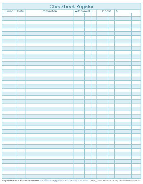 The perfect Checkbook Register for your recordkeeping – Freebie Printable from Clean Mama Printables