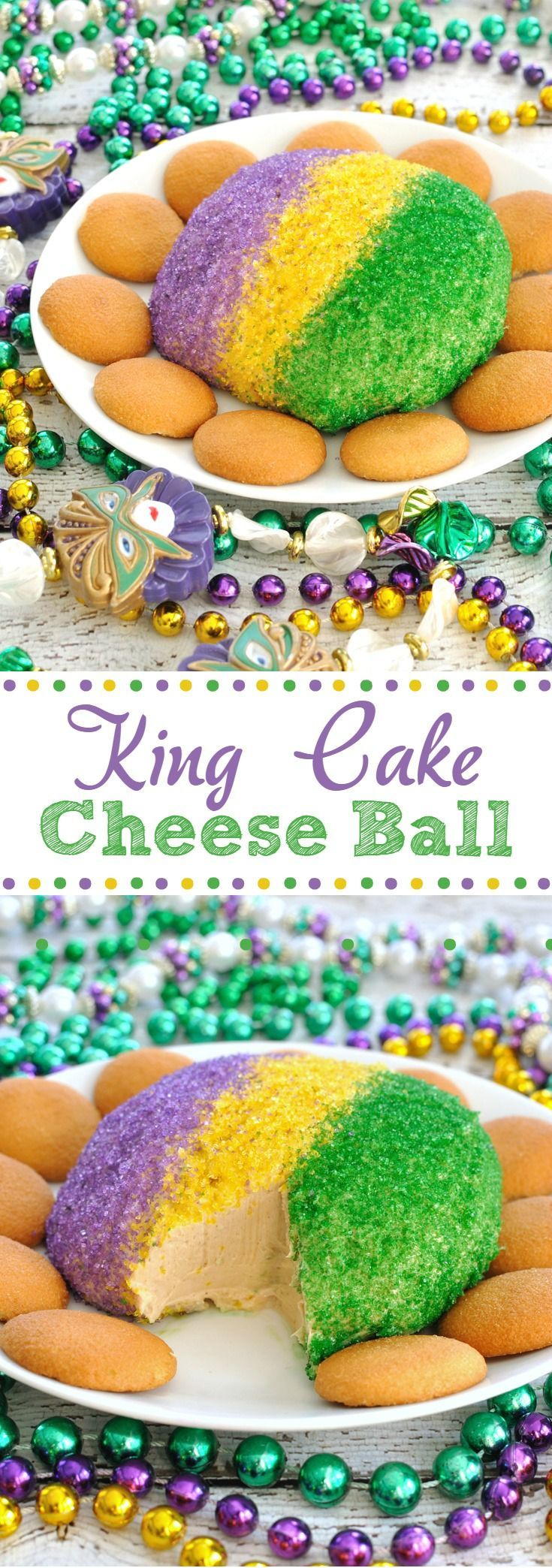 Celebrate Fat Tuesday! This Festive King Cake Cheese Ball has the flavor and colors of a King Cake, but in an easy to make cheese ball. Great dessert for Mardi Gras!
