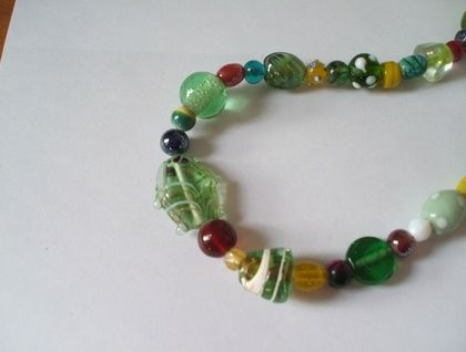 Green glass lolly necklace
