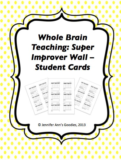 FREE!! Whole Brain Teaching: Super Improvers Wall Student Cards