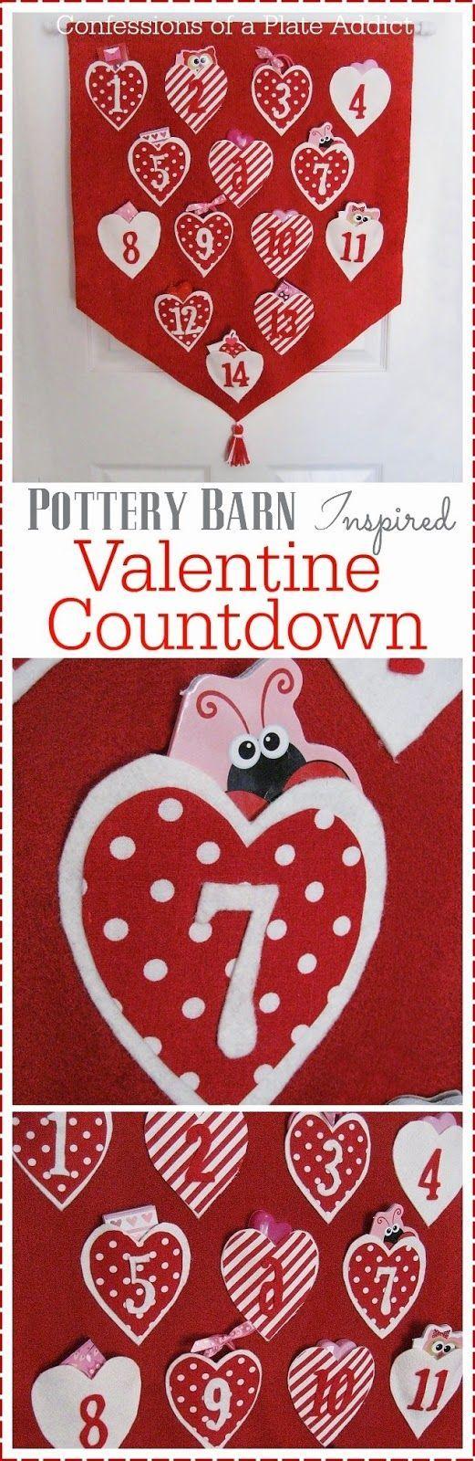 Pottery Barn Inspired No Sew Valentine Countdown Calendar