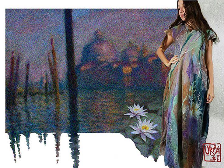 Felt Art By Kira Outembetova. ` Water Monet ` Dress