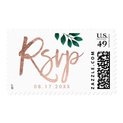 #Rose gold script green leaf white wedding postage - #chic #watercolor