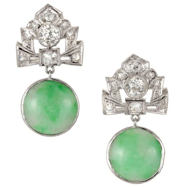 GIA Certified Art Deco Jadeite Jade Diamonds Dangle Platinum Earrings | From a unique collection of vintage dangle earrings at https://www.1stdibs.com/jewelry/earrings/dangle-earrings/