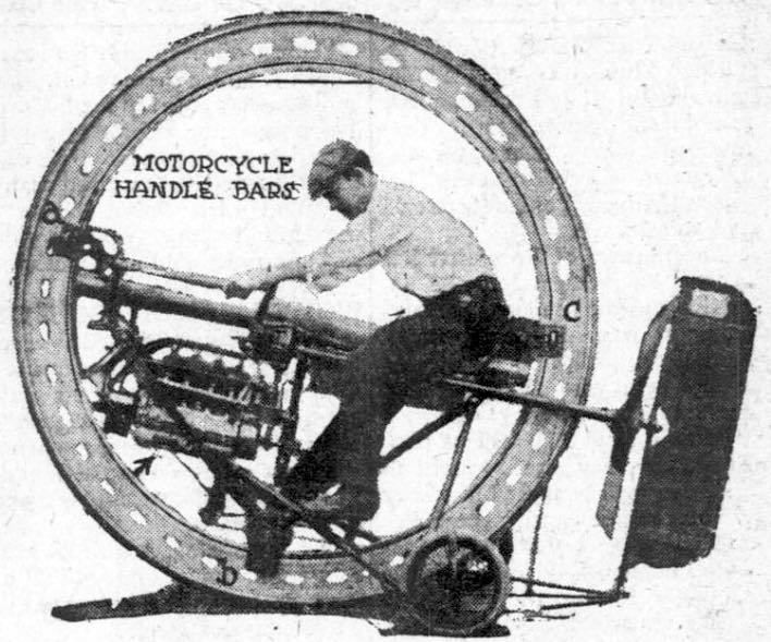 """This 1912 article about a """"new"""" sort of vehicle covers an invention that appears to be almost like something out of a video game and was no doubt the inspiration for many hoop-track vehicles that came afterwords. Fastest Things in World is the Aerounicycle St. Louis, July 20. — """"Merrily we'll roll along, roll along,"""" 12 miles a minute, 720 miles an hour, 19,280 miles from sun to sun, in a hoop! Get that right — in a hoop! That is what the speed maniac of the future may be doing. The…"""