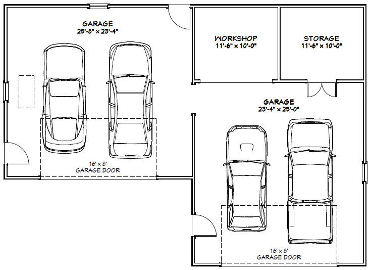 Image Result For Size Of 4 Car Garage Garage Floor Plans Garage Dimensions Car Garage