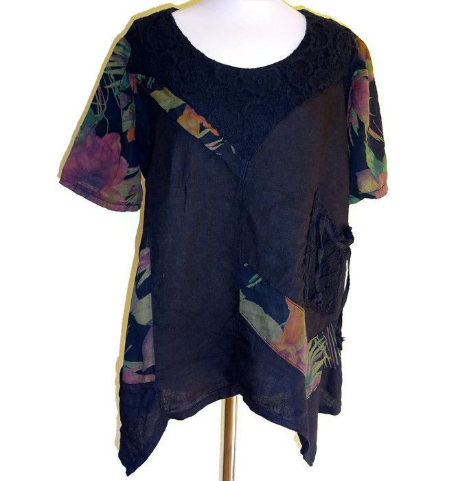 Sarah Santos Top Blouse Tunic Linen Oversize S - L Artsy Boho Quirky Lagenlook