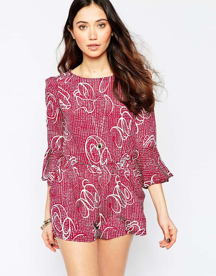 Love+Split+Back+Playsuit+With+Bell+Sleeves