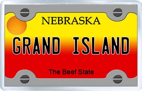 $3.29 - Acrylic Fridge Magnet: United States. License Plate of Grand Island Nebraska