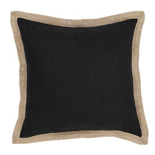 Black Hampton Linen Cushion 50x50cm