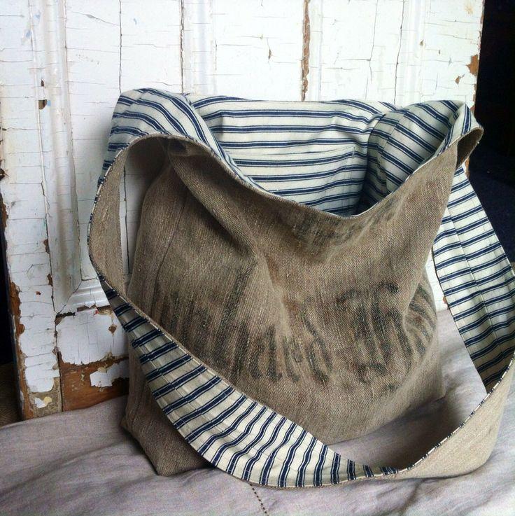 1908 - reconstructed vintage linen grain sack sling bag by yahbag on Etsy https://www.etsy.com/listing/199707285/1908-reconstructed-vintage-linen-grain