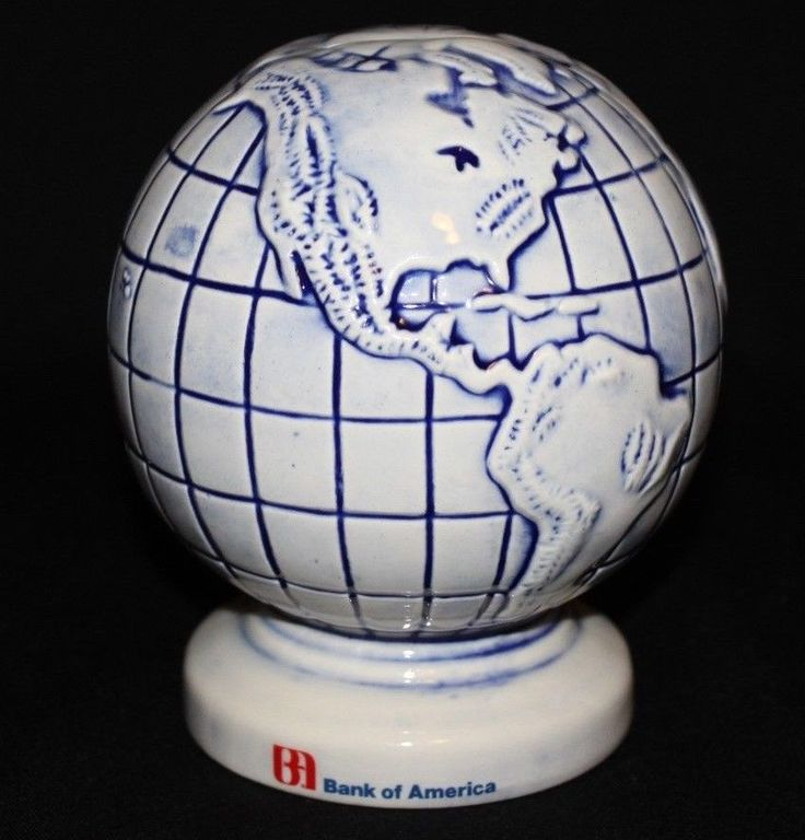 It is Blue and White in color, ceramic, and includes rubber stopper. Type: Piggy Bank. Theme: World Atlas. Make: Bank of America. Color: Blue & White. | eBay!
