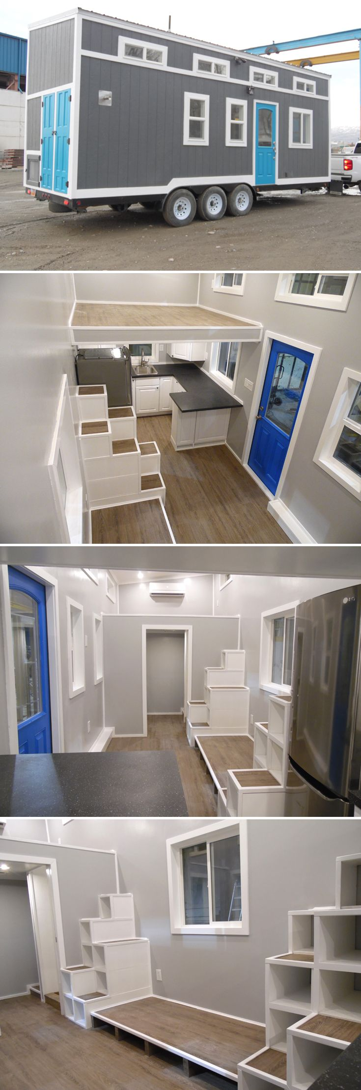 This 26 Foot Tiny House Has Two Large Bedroom Lofts With Storage Stairs Leading To