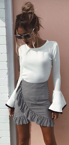 #summer #outfits White Bell Sleeve Top + Striped Ruffle Wrap Skirt