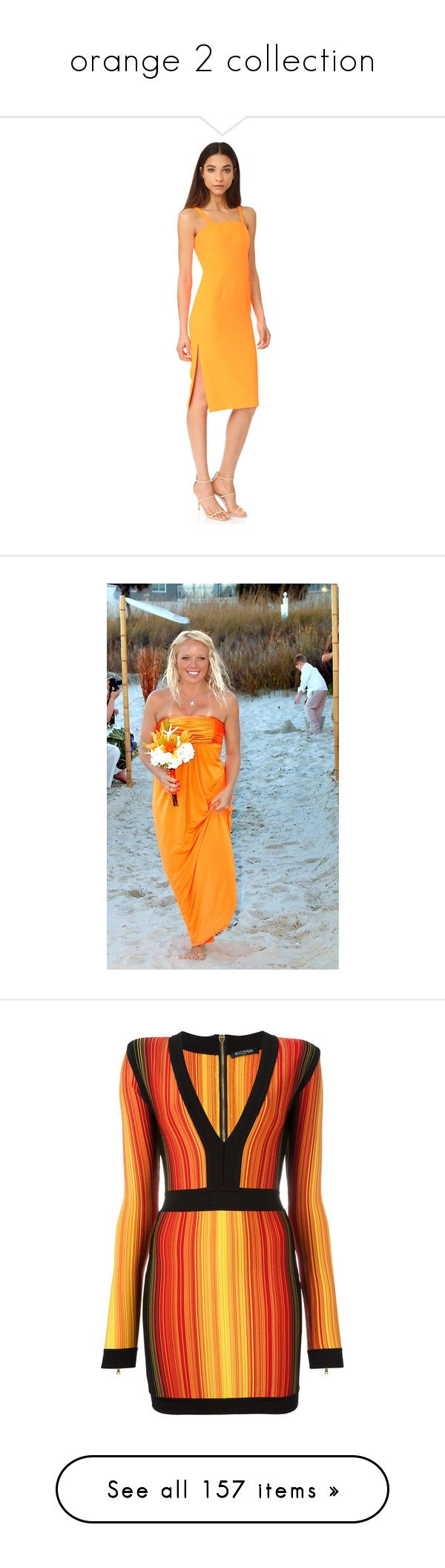 """""""orange 2 collection"""" by mimmiandkinkistatementjewelry ❤ liked on Polyvore featuring dresses, fluorescent orange, lined dress, neon yellow dress, sheath dresses, lining dress, orange dress, beachy dresses, blue beach dress and bridesmaid dresses"""