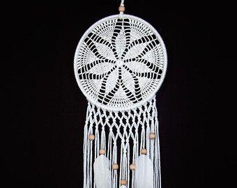 Large Beige Brown Dream Catcher Handmade Crochet Doily