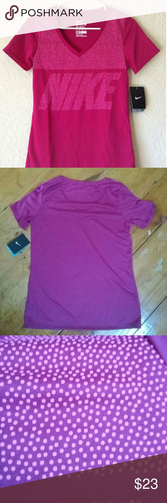Pink polka dot Nike tshirt The first picture depicts the true color of this t-shirt the second and third picture I took so that you could see the back of the t-shirt and the polka dot detail Nike Tops Tees - Short Sleeve