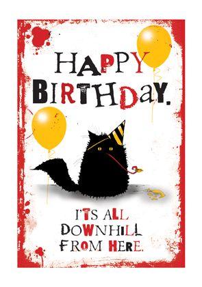 Happy Birthday black cat card